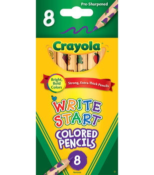 crayola write start colored pencils The crayola write start colored pencils are made for little kids they are a perfect shape to fit a little kids hand and will not roll as easy when placed on a surface the pencils have a thicker leads, and will leave more color when used on a page.